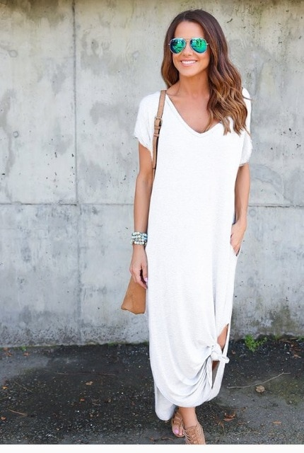 Plus Size 5XL Sexy Women Dress Summer 2020 Solid Casual Short Sleeve Maxi Dress For Women Long Dress Free Shipping Lady Dresses|Dresses| – White 14