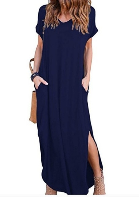 Plus Size 5XL Sexy Women Dress Summer 2020 Solid Casual Short Sleeve Maxi Dress For Women Long Dress Free Shipping Lady Dresses|Dresses| – Navy Blue 15