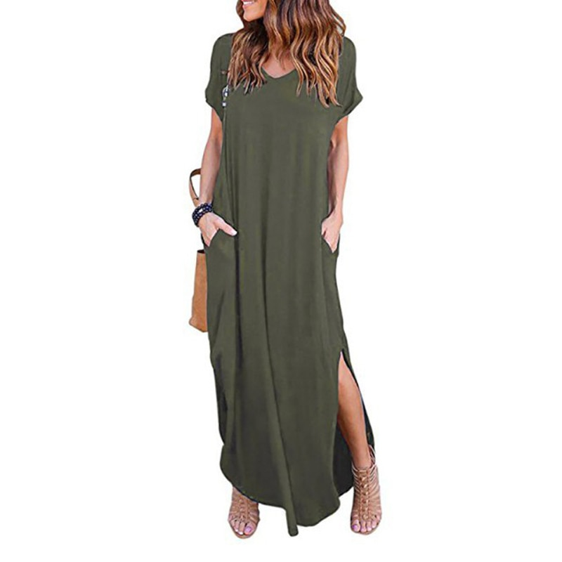 Plus Size 5XL Sexy Women Dress Summer 2020 Solid Casual Short Sleeve Maxi Dress For Women Long Dress Free Shipping Lady Dresses|Dresses| 1