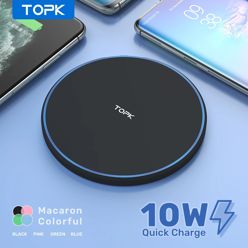 TOPK 10W Wireless Charger For iPhone 12 11 Pro Max Fast Wireless Charging Pad Induction Charger For Samsung S9 S10+ Note 9 8|Wireless Chargers| 1