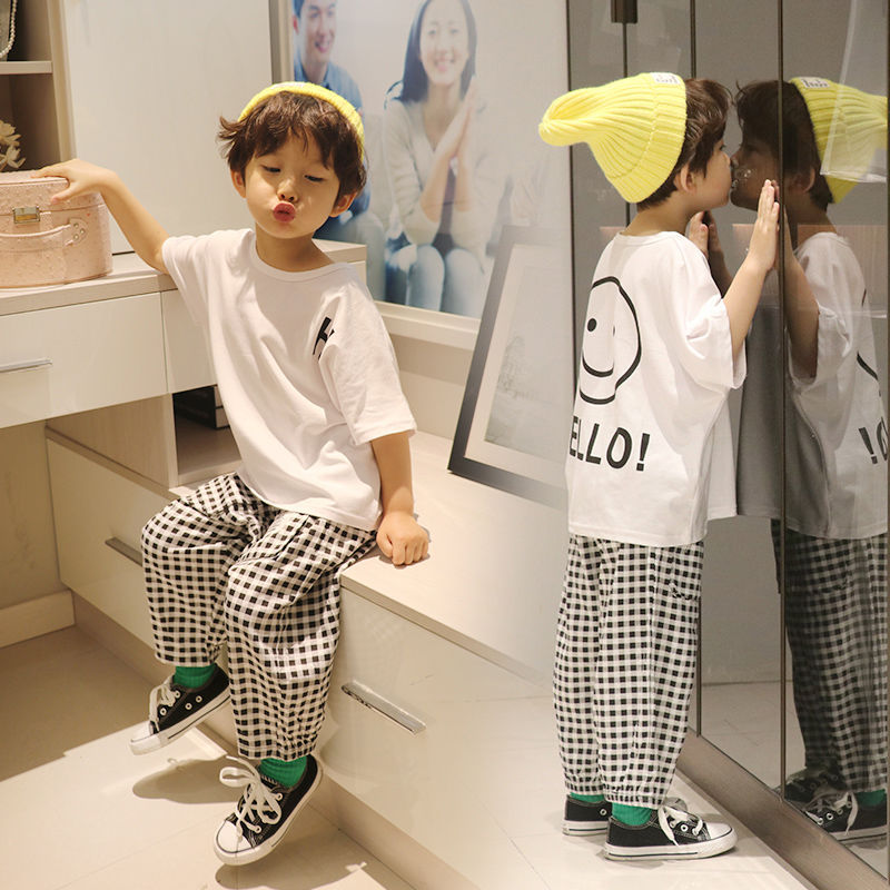 Vidmid Baby Boys Summer Cotton Clothing Suits 2 8 Years Kids Children Cotton Plaid Short Sleeve Clothes Sets Boy Casual Set P445 Clothing Sets  2