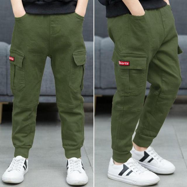 children pants Boy Sports Pants Big Boy Pants Spring Teenage Spring Toddler Casual Kids Trousers For Boys Clothes Age 3 12 Year Pants  – green 1 8