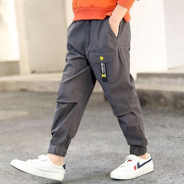 children pants Boy Sports Pants Big Boy Pants Spring Teenage Spring Toddler Casual Kids Trousers For Boys Clothes Age 3 12 Year Pants  – gray 10