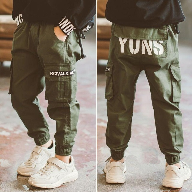 children pants Boy Sports Pants Big Boy Pants Spring Teenage Spring Toddler Casual Kids Trousers For Boys Clothes Age 3 12 Year Pants  – Green 11