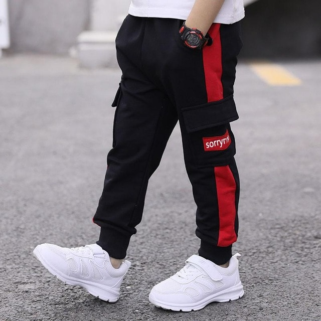 children pants Boy Sports Pants Big Boy Pants Spring Teenage Spring Toddler Casual Kids Trousers For Boys Clothes Age 3 12 Year Pants  – Red 13