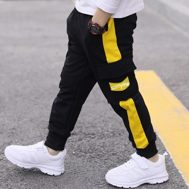 children pants Boy Sports Pants Big Boy Pants Spring Teenage Spring Toddler Casual Kids Trousers For Boys Clothes Age 3 12 Year Pants  – Yellow 14