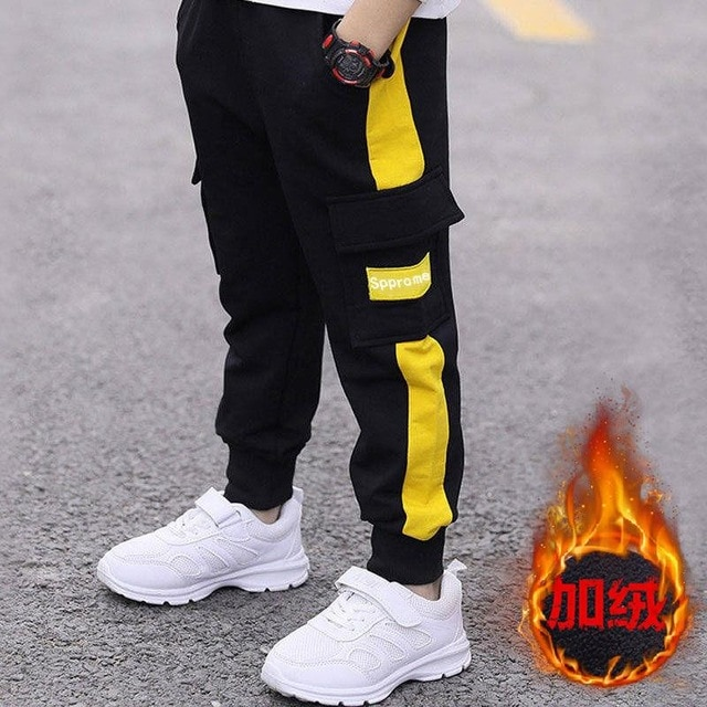 children pants Boy Sports Pants Big Boy Pants Spring Teenage Spring Toddler Casual Kids Trousers For Boys Clothes Age 3 12 Year Pants  – cotton yellow 16