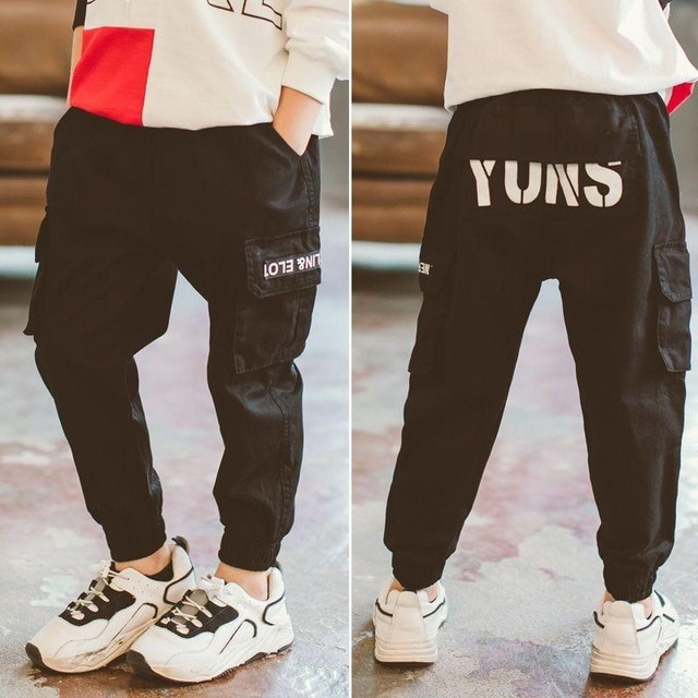 children pants Boy Sports Pants Big Boy Pants Spring Teenage Spring Toddler Casual Kids Trousers For Boys Clothes Age 3 12 Year Pants  – Black 7