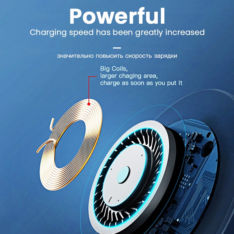 iONCT 10W Fast Qi Wireless Charger for iPhone 11 pro 8 X XR XS wirless Charging for Samsung phone USB wireless charger pad IN040 Wireless Chargers  4