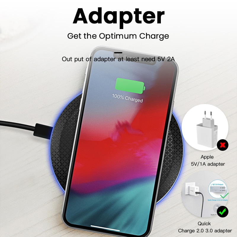 iONCT 10W Fast Qi Wireless Charger for iPhone 11 pro 8 X XR XS wirless Charging for Samsung phone USB wireless charger pad IN040 Wireless Chargers  5