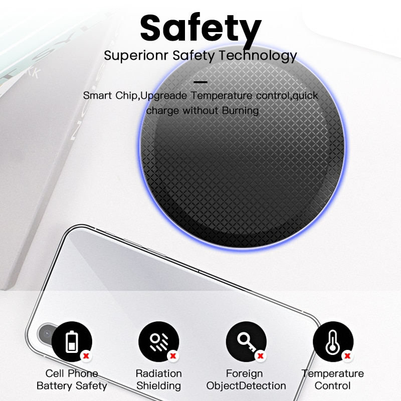 iONCT 10W Fast Qi Wireless Charger for iPhone 11 pro 8 X XR XS wirless Charging for Samsung phone USB wireless charger pad IN040 Wireless Chargers  6