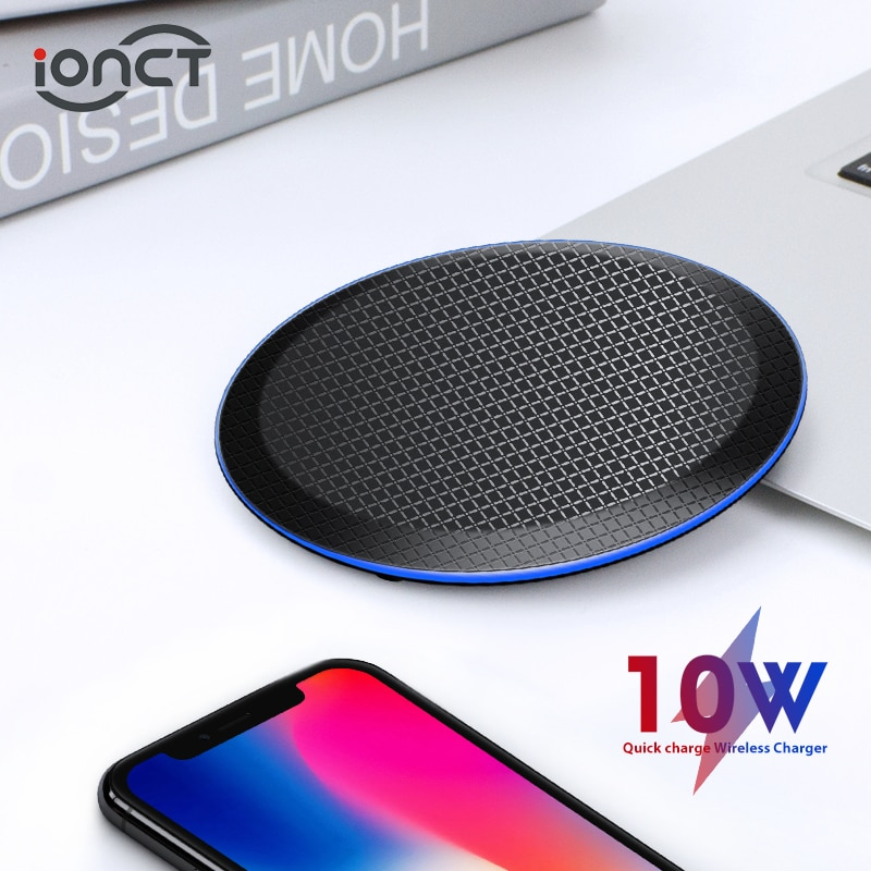 iONCT 10W Fast Qi Wireless Charger for iPhone 11 pro 8 X XR XS wirless Charging for Samsung phone USB wireless charger pad IN040 Wireless Chargers  1