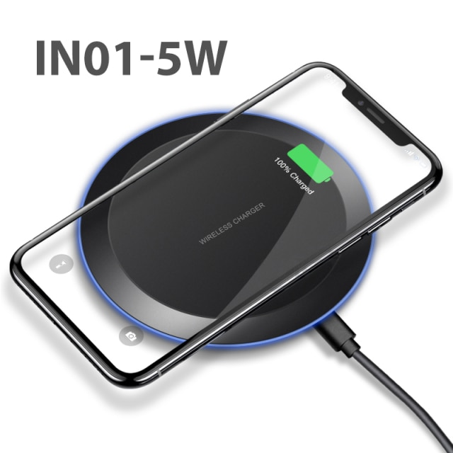 iONCT 10W Fast Qi Wireless Charger for iPhone 11 pro 8 X XR XS wirless Charging for Samsung phone USB wireless charger pad IN040 Wireless Chargers  – IN01-5W 7