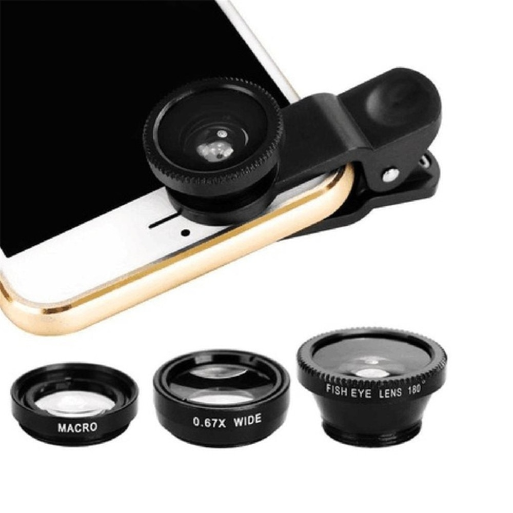 phone lens Fisheye 0.67x Wide Angle Zoom lens fish eye 6x macro lenses Camera Kits with Clip lens on the phone for smartphone Mobile Phone Lens  2