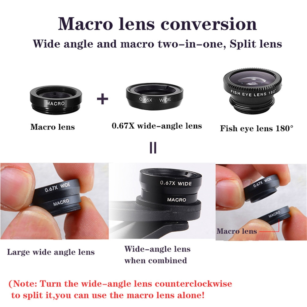 phone lens Fisheye 0.67x Wide Angle Zoom lens fish eye 6x macro lenses Camera Kits with Clip lens on the phone for smartphone Mobile Phone Lens  3