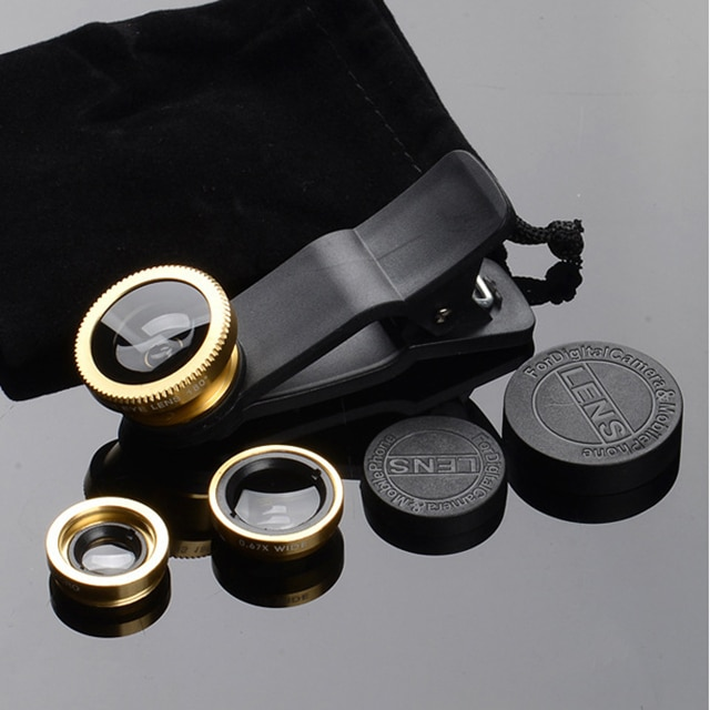 phone lens Fisheye 0.67x Wide Angle Zoom lens fish eye 6x macro lenses Camera Kits with Clip lens on the phone for smartphone Mobile Phone Lens  – Gold 10