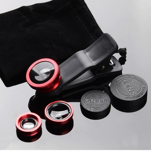 phone lens Fisheye 0.67x Wide Angle Zoom lens fish eye 6x macro lenses Camera Kits with Clip lens on the phone for smartphone Mobile Phone Lens  – Red 11