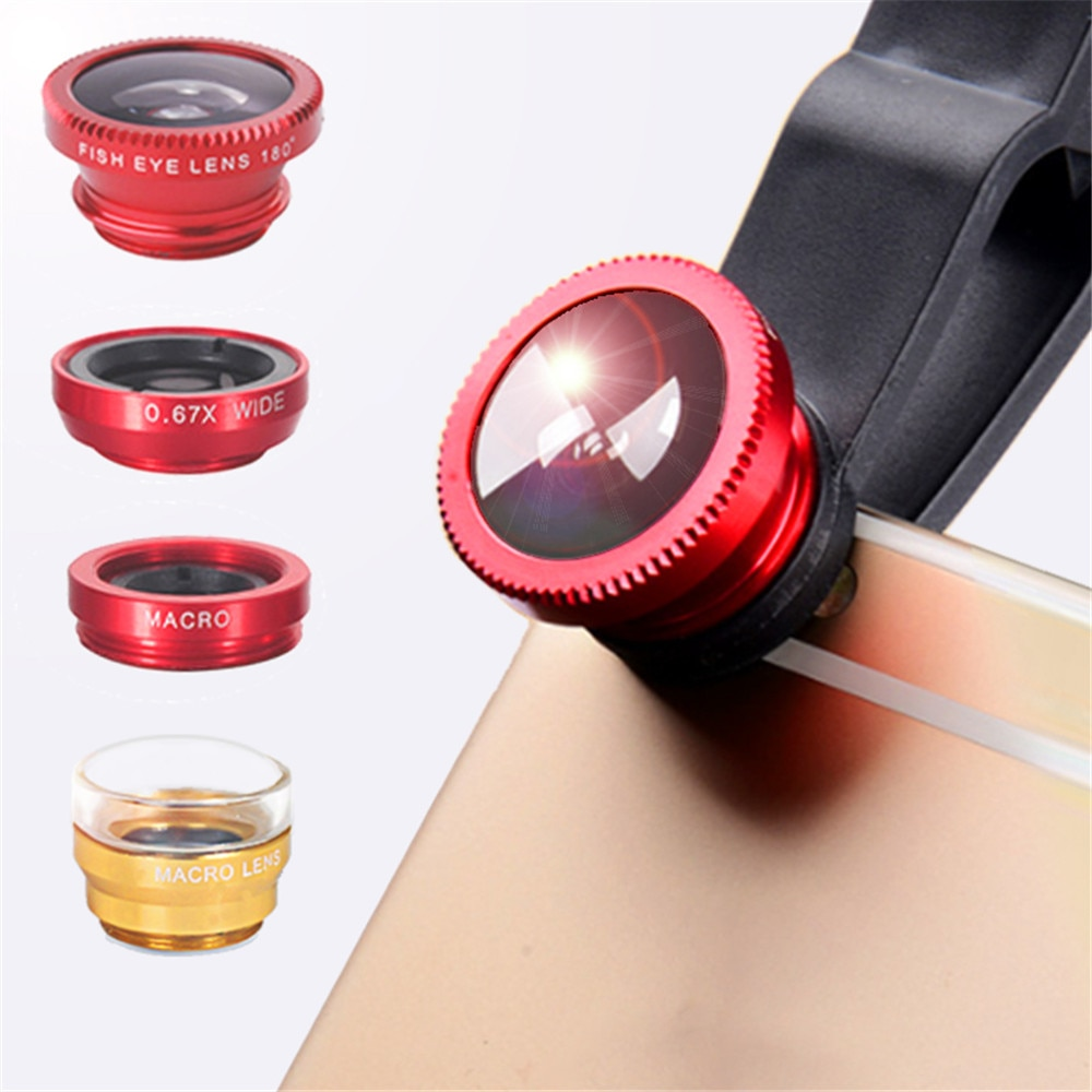 phone lens Fisheye 0.67x Wide Angle Zoom lens fish eye 6x macro lenses Camera Kits with Clip lens on the phone for smartphone Mobile Phone Lens  1