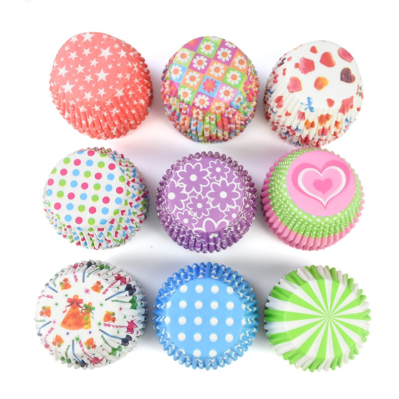 100pcs/lot Printed Cupcake Paper Cups Cupcake Liner Baking Muffin Cup Case Home Kitchen Cooking Supplies Cake Decorating Tools|Cake Molds| 2