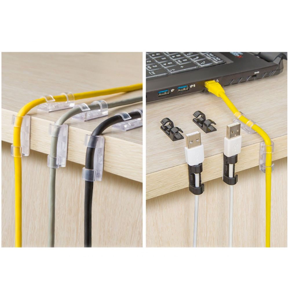 20/10pcs Desktop cable organizer Cable Winder Clip Adhesive Charger Clasp Desk Wire Cord Charging Cable Tie Fixer|Cable Organizers| 4