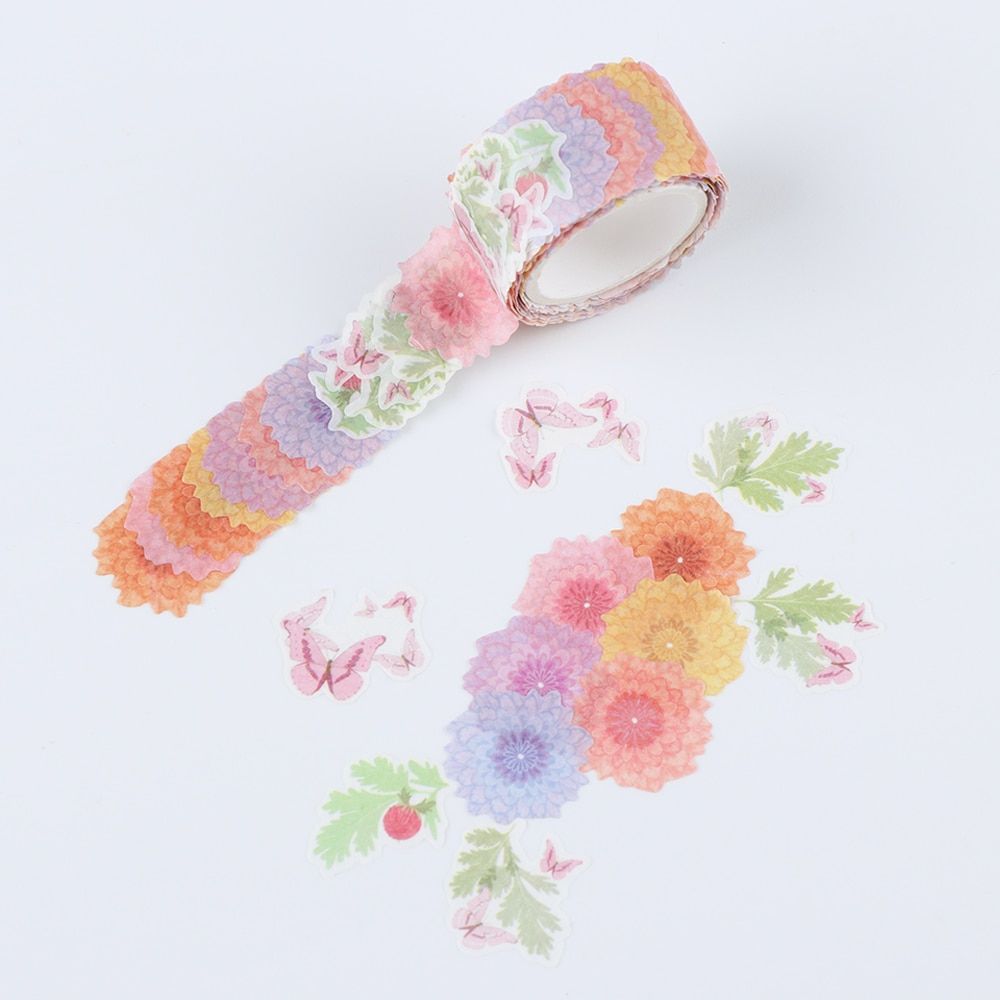 200PCS/Roll Flower Petals Washi Tape DIY Scrapbooking Diary Paper Stickers Roll Cute Adhesive Paper Tape Stationery Sticker Office Adhesive Tape  4