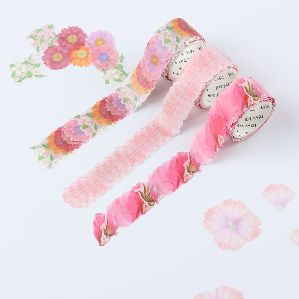 200PCS/Roll Flower Petals Washi Tape DIY Scrapbooking Diary Paper Stickers Roll Cute Adhesive Paper Tape Stationery Sticker Office Adhesive Tape  6