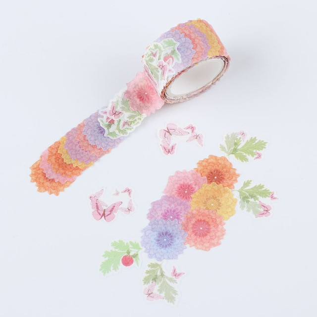 200PCS/Roll Flower Petals Washi Tape DIY Scrapbooking Diary Paper Stickers Roll Cute Adhesive Paper Tape Stationery Sticker Office Adhesive Tape  – 10 16