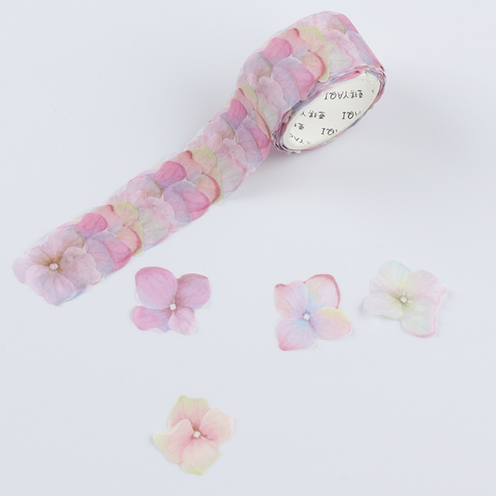 200PCS/Roll Flower Petals Washi Tape DIY Scrapbooking Diary Paper Stickers Roll Cute Adhesive Paper Tape Stationery Sticker Office Adhesive Tape  1