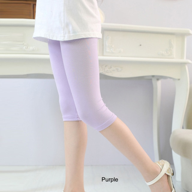 3 10years Girls Knee Length Kid Fifth Pants Candy Color Children Cropped Clothing Spring Summer All matches Bottoms Leggings clothing leggings girls knee length leggingschildren leggings – Purple 8