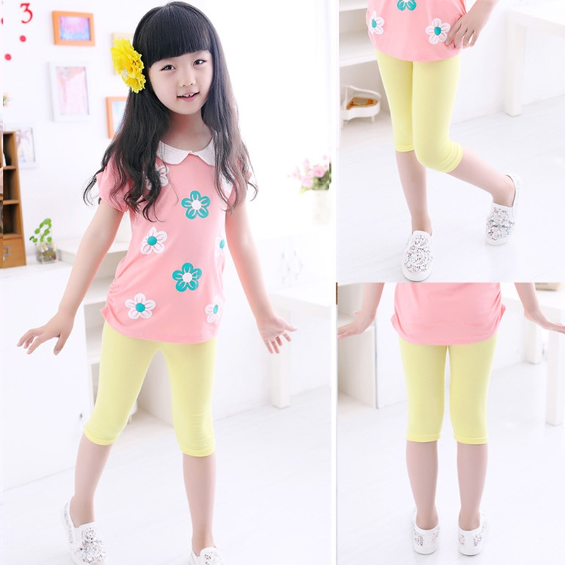 3 10years Girls Knee Length Kid Fifth Pants Candy Color Children Cropped Clothing Spring Summer All matches Bottoms Leggings clothing leggings girls knee length leggingschildren leggings 3
