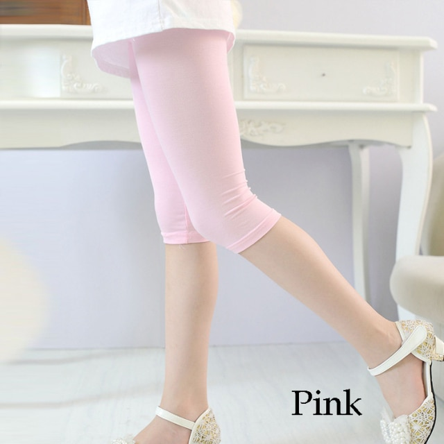 3 10years Girls Knee Length Kid Fifth Pants Candy Color Children Cropped Clothing Spring Summer All matches Bottoms Leggings clothing leggings girls knee length leggingschildren leggings – Pink 9
