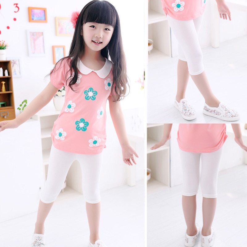 3 10years Girls Knee Length Kid Fifth Pants Candy Color Children Cropped Clothing Spring Summer All matches Bottoms Leggings clothing leggings girls knee length leggingschildren leggings 4