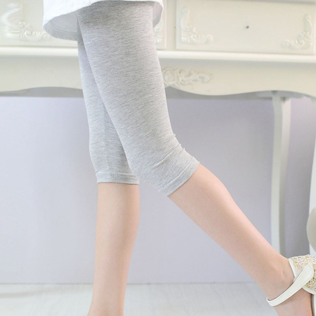 3 10years Girls Knee Length Kid Fifth Pants Candy Color Children Cropped Clothing Spring Summer All matches Bottoms Leggings clothing leggings girls knee length leggingschildren leggings – Gray 10