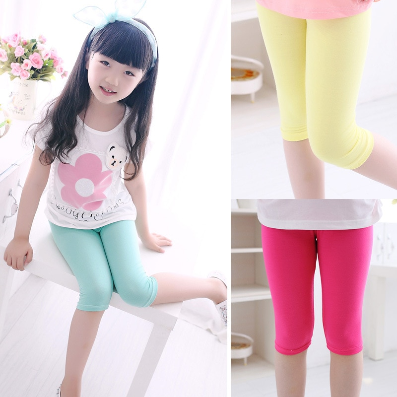 3 10years Girls Knee Length Kid Fifth Pants Candy Color Children Cropped Clothing Spring Summer All matches Bottoms Leggings clothing leggings girls knee length leggingschildren leggings 5