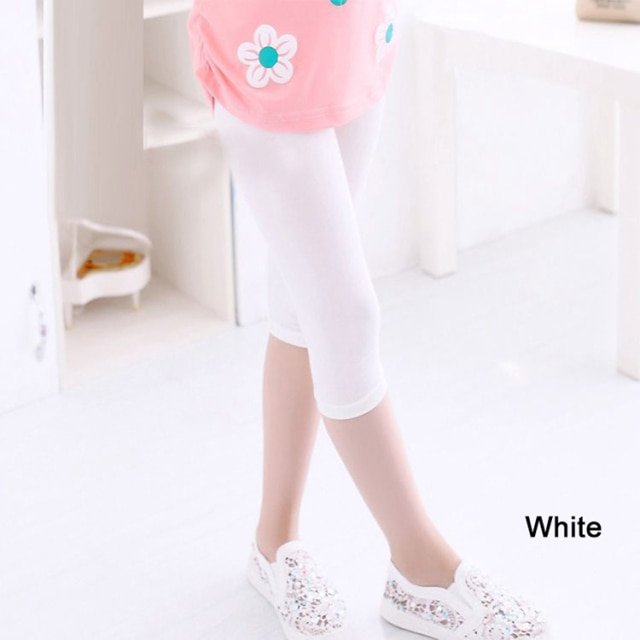 3 10years Girls Knee Length Kid Fifth Pants Candy Color Children Cropped Clothing Spring Summer All matches Bottoms Leggings clothing leggings girls knee length leggingschildren leggings – White 11