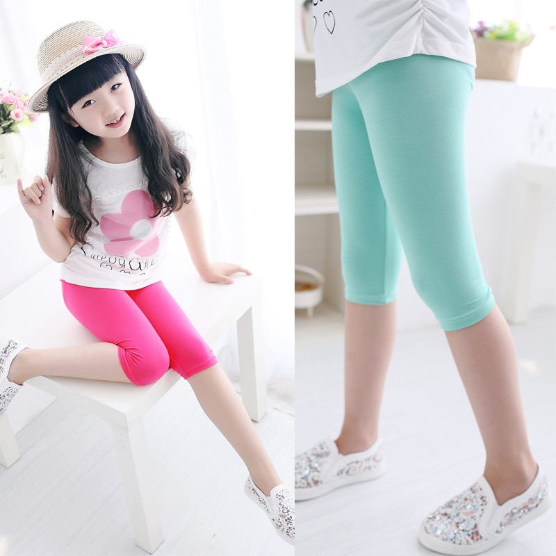 3 10years Girls Knee Length Kid Fifth Pants Candy Color Children Cropped Clothing Spring Summer All matches Bottoms Leggings clothing leggings girls knee length leggingschildren leggings 6