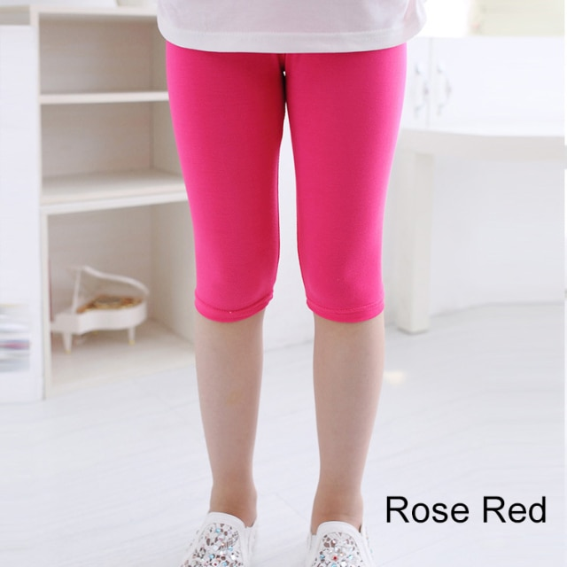 3 10years Girls Knee Length Kid Fifth Pants Candy Color Children Cropped Clothing Spring Summer All matches Bottoms Leggings clothing leggings girls knee length leggingschildren leggings – Rose Red 12