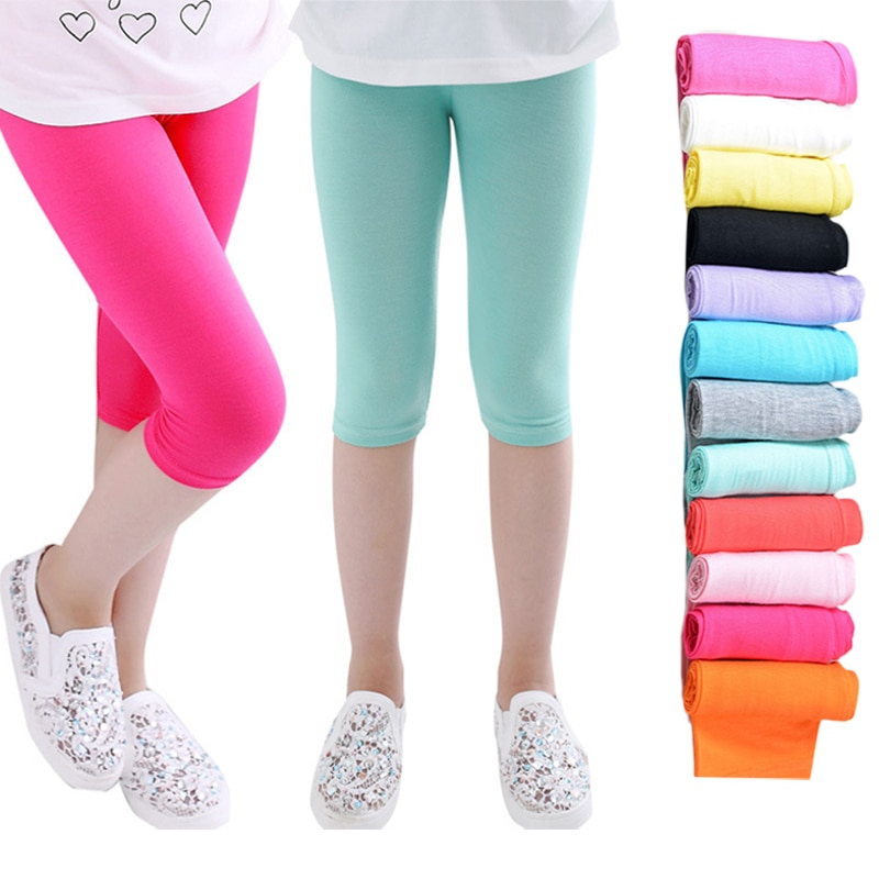 3 10years Girls Knee Length Kid Fifth Pants Candy Color Children Cropped Clothing Spring Summer All matches Bottoms Leggings clothing leggings girls knee length leggingschildren leggings 1