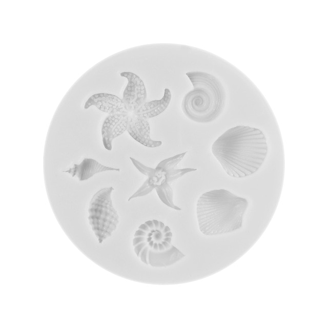 3D Seashell Ice Mold Starfish Ice Trays Conch Shaped Ice Moulds Fondant Mold for Kitchen Baking Pastry Candy Making Tool Cake Molds  – 1 7
