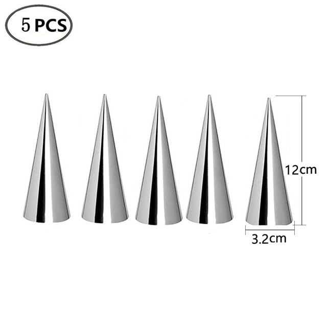 5/10Pcs Conical Tube Cone Roll Moulds Spiral Croissants Molds Cream Horn Mould Pastry Mold Cookie Dessert Kitchen Baking Tool Baking & Pastry Spatulas  – 5pcs 12X3.2cm 8