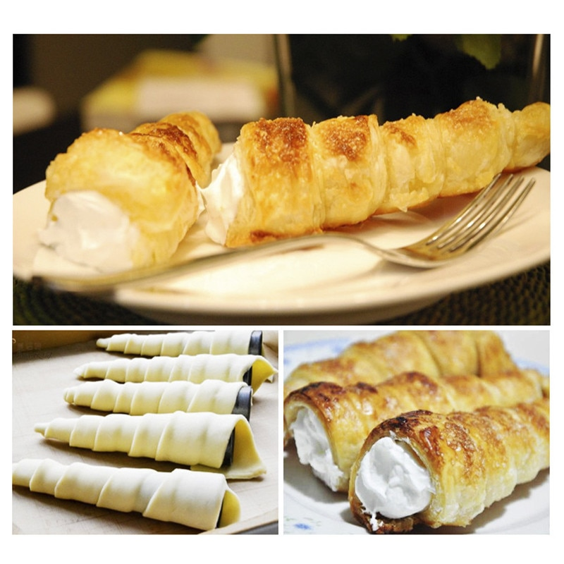5/10Pcs Conical Tube Cone Roll Moulds Spiral Croissants Molds Cream Horn Mould Pastry Mold Cookie Dessert Kitchen Baking Tool Baking & Pastry Spatulas  6