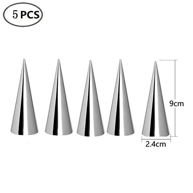 5/10Pcs Conical Tube Cone Roll Moulds Spiral Croissants Molds Cream Horn Mould Pastry Mold Cookie Dessert Kitchen Baking Tool Baking & Pastry Spatulas  – 5pcs 9X2.4cm 7