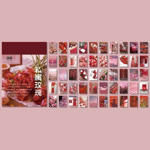 50 sheets Landscape rose ins Decorative Stickers Scrapbooking Stick Label Diary Album stationery painting Sticker Accessories|Assorted Stickers| – 6 17