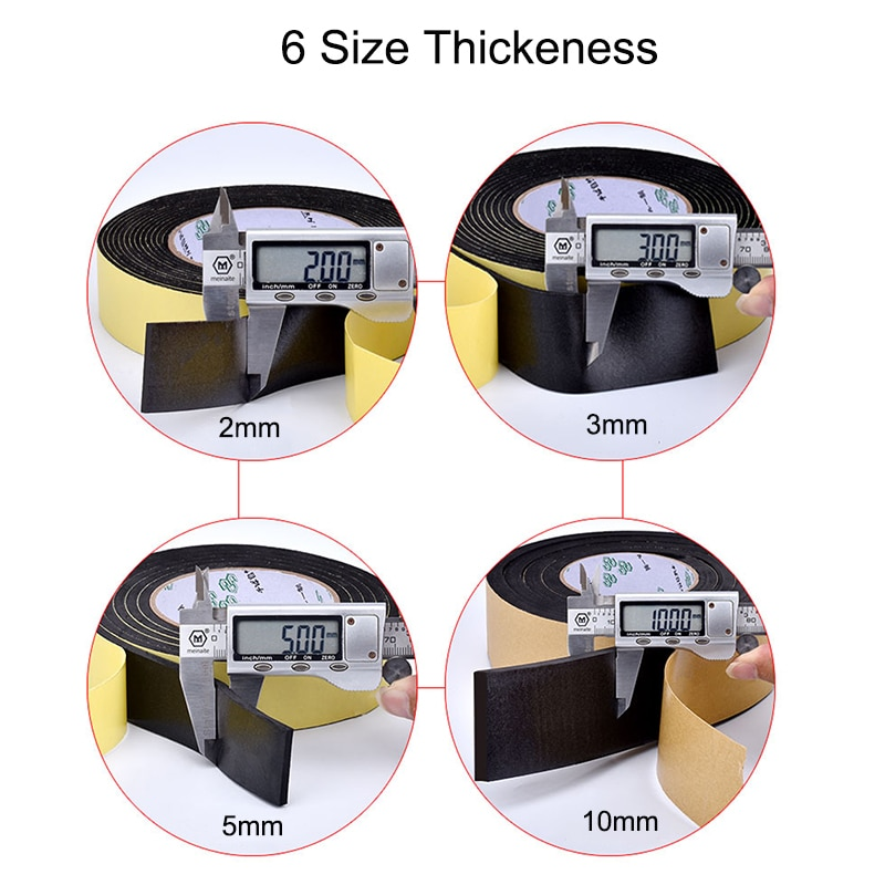 5M Sealing Foam Tape Strong Adhesive Sponge Mounting One Sided Seal Tape Pad Door Window Sound Insulation Sticky 3mm Thickenss|Double Sided Tape| 6