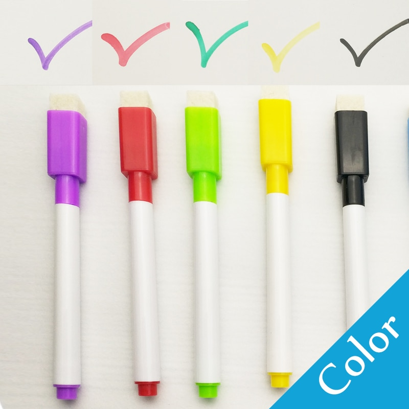 8 Pcs/lot Colorful black School classroom Whiteboard Pen Dry White Board Markers Built In Eraser Student children's drawing pen|white board marker|board markerwhiteboard pen 5