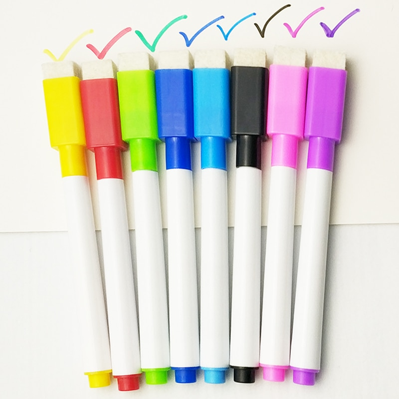 8 Pcs/lot Colorful black School classroom Whiteboard Pen Dry White Board Markers Built In Eraser Student children's drawing pen|white board marker|board markerwhiteboard pen 1