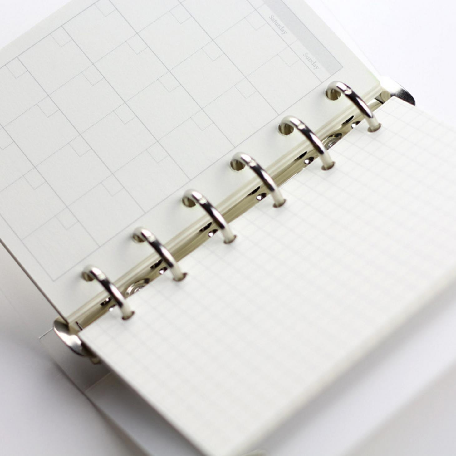 A5 A6 A7 Loose Leaf Notebook Refill Spiral Binder Planner Inner Page Inside Paper Dairy Weekly Monthly Plan To do Line Dot grid monthly plan spiral binderdot grid 6