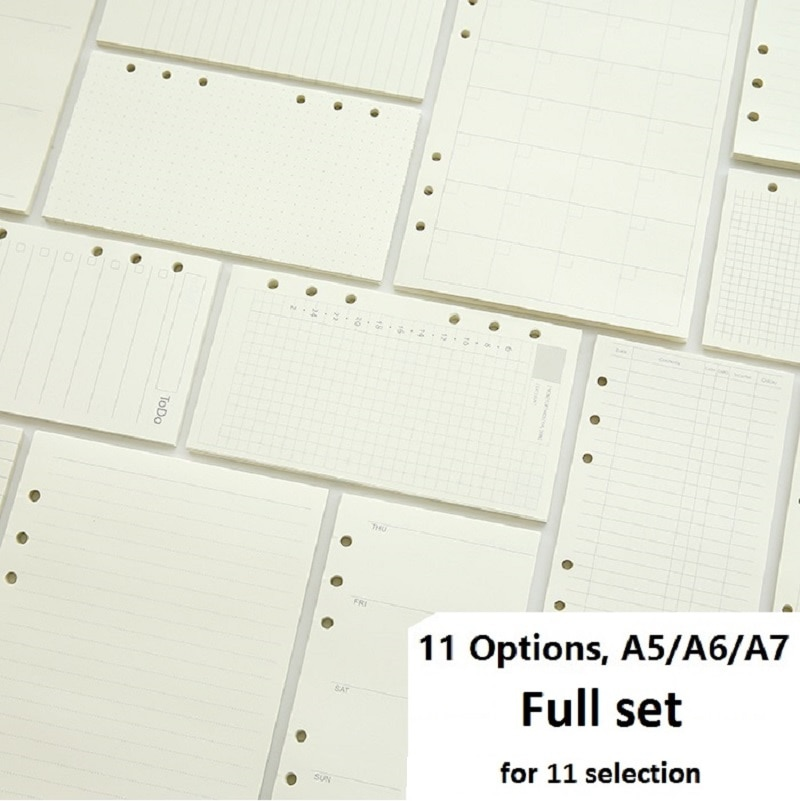 A5 A6 A7 Loose Leaf Notebook Refill Spiral Binder Planner Inner Page Inside Paper Dairy Weekly Monthly Plan To do Line Dot grid monthly plan spiral binderdot grid 1