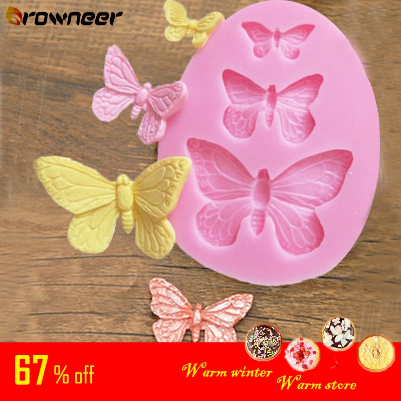 Butterfly Mold Silicone Baking Accessories 3D DIY Sugar Craft Chocolate Cutter Mould Fondant Cake Decorating Tool 3 Colors| | 1