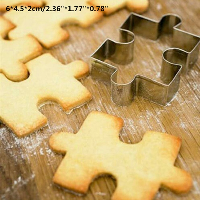 Hot 1PC Kitchen Cookie Cutter Cat Shaped Aluminium Mold Sugarcraft Cake Cookies Pastry Baking Cutter Mould Cake Decorating Tools Cookie Tools  – Puzzle Shape 10